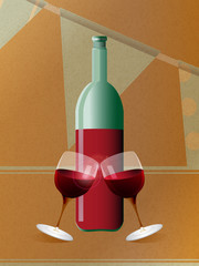 Red wine bottle and glasses over brown paper