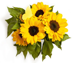 Bouquet of sunflowers with paper butterfly, on white