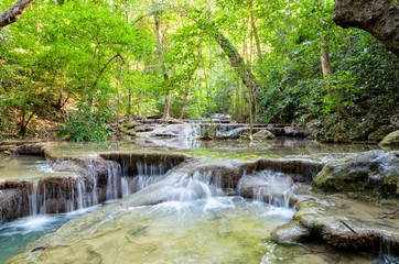 Printed roller blinds Gray traffic Beautiful waterfall and tropical forests at Erawan National Park is a famous tourist attraction in Kanchanaburi Province, Thailand