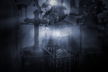 Photo sur Aluminium Cimetiere Full moon cemetery