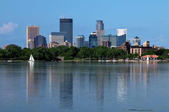 Minneapolis Skyline Reflecting in Lake Calhoun