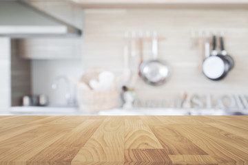 Wood table top with blur kitchen background , empty wooden table Wall mural