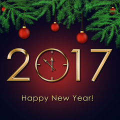 Happy New Year 2017 background with gold clock