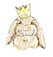 illustration of a cute bunny, a rabbit in the crown