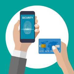 ベクター、指紋認証とクレジットカード