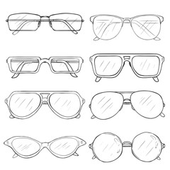 Vector Set of Sketch Glasses. Eyeglass Frames