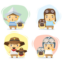 Little boy and dog in cute costume , vector , illustration