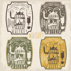 grunge vintage vector labels of whiskey with home alcohol machin