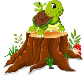 Cartoon turtle and frog posing on tree stump