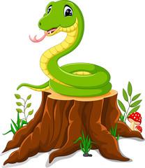 Cartoon funny snake on tree stump