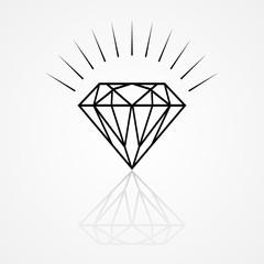 Line art illustration of a diamond