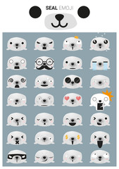Seal emoji icons, vector, illustration