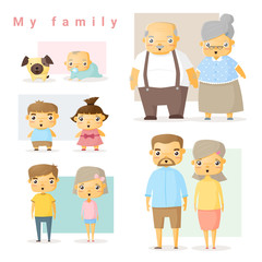 Set of big family, vector, illustration