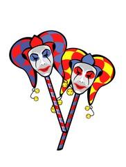 joker mask on a stick