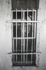 Window with bars and mesh screen on metal building