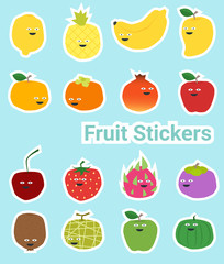 Set of funny fruit stickers , vector, illustration