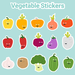 Set of funny vegetable stickers , vector, illustration
