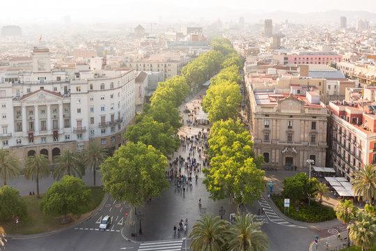 Cityscape including la rambla in Barcelona, Spain