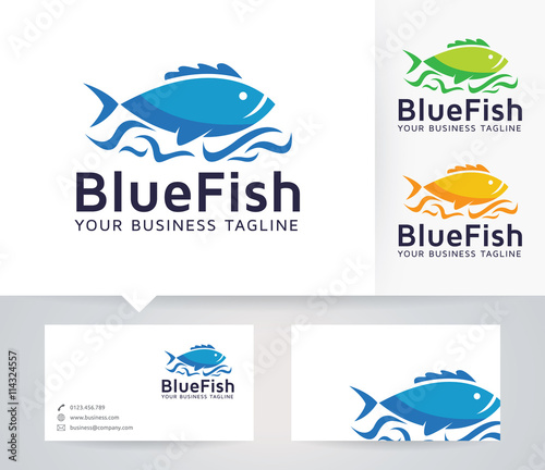 Blue fish vector logo with business card template stock image and blue fish vector logo with business card template colourmoves Gallery