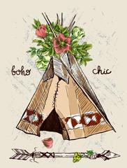 teepee and flowers