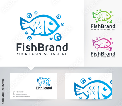 Fish brand vector logo with business card template stock image and fish brand vector logo with business card template colourmoves