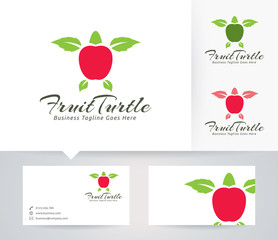Fruit Turtle vector logo with business card template