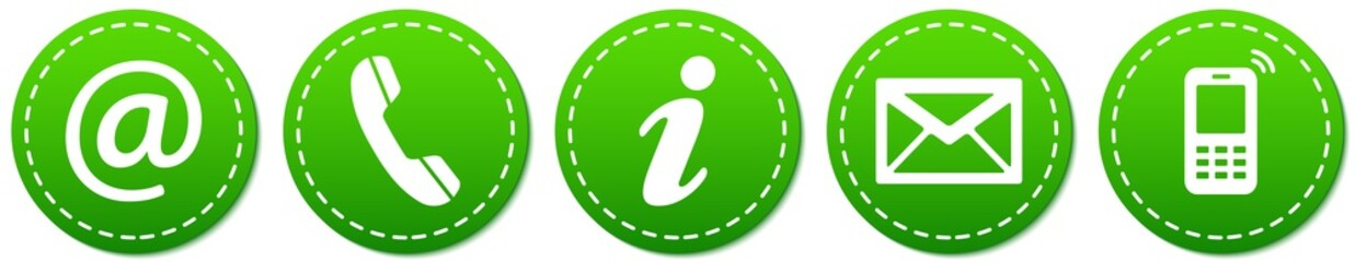 Contact Us – Round green sticker buttons with dashed line