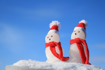 Snowmen  with a Red Scarves