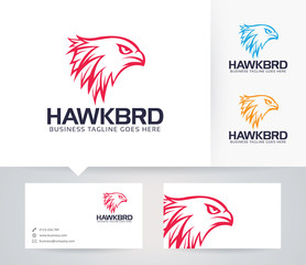 Hawk Brand vector logo with business card template