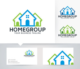 Home Group vector logo with business card template