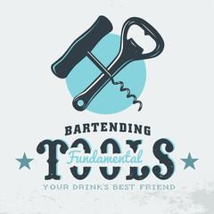 Bartender Profession Print Design. Corkscrew. Opener. Card Print
