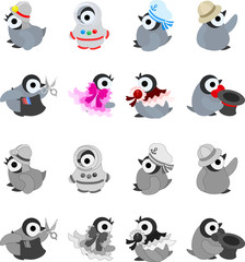 The icons of pretty penguin babies