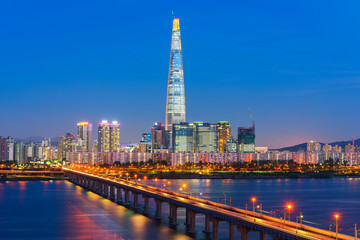 Photo sur cadre textile Seoul Seoul City Skyline at Han river Seoul, South korea