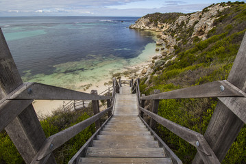 Wooden Beach Steps leading to Crystal Blue Water