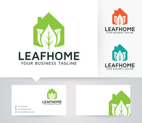 Leaf Home vector logo with business card template