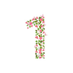 Floral font with spring pink flowers. Romantic number one