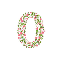 Floral font with spring pink flowers. Romantic number zero