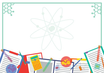 Chemistry Lab Picture frame and Note frame Design with Atom Background