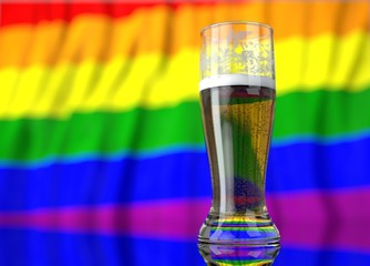 a glass of beer in front a gay flag. 3D illustration rendering.