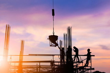 Silhouette construction industry engineer standing orders for co