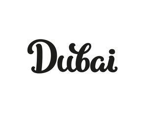 Dubai, modern lettering sign. I love Dubai, vector font for design cards, prints