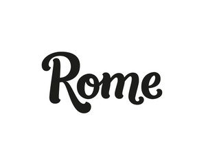 Rome, modern lettering sign. I love Rome, vector font for design cards, prints
