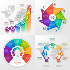 Set of four vector infographic templates. Business, education, industry, science concept with 7 values, options, parts, steps, processes.