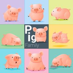 Set of Pig family , vector , illustration