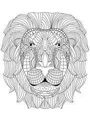 Lion head coloring vector for adults