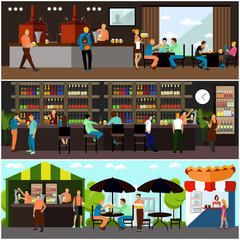 Vector set of brewery and beer restaurant interior concept banners. Visitors drink in a bar.