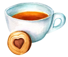 Watercolor drawing of cup of tea with cookie on white