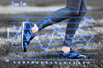 Running schedule concept. Sports woman legs in running movement