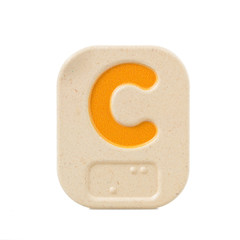 alphabet C on white background  with Braille