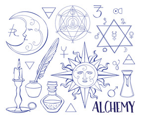 Set of trendy vector Alchemy symbols